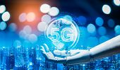 Robot Android Hand Holding Icon 5g.5g Network Digital Hologram And Internet Of Things On City Backgr poster
