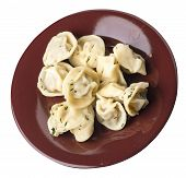 Dumplings On A Brown Plate Isolated On White Background .boiled Dumplings.meat Dumplings Top Side  V poster
