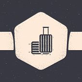 Grunge Suitcase For Travel Icon Isolated On Grey Background. Traveling Baggage Sign. Travel Luggage  poster