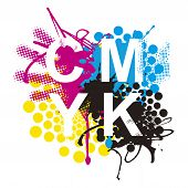 Cmyk Print Colors Expressive Background. Cmyk Cyan Magenta Yellow Black Inks And Sign Cmyk On White  poster