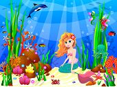 The Little Mermaid Underwater Among Sea Creatures And Underwater Plants. Cute Mermaid Sitting On The poster