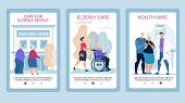 Advertising Poster Care For Elderly People Flat. Set Banner Elderly Care, Health Care. Elderly Coupl poster