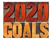 2020 goals banner - New Year resolution concept - isolated text in vintage letterpress wood type pri poster