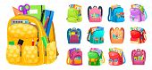 Backpack Full Of Stationery Objects, Back To School. Vector Isolated Rucksacks With Exercise Books,  poster