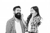 Only The Best Man Can Grow A Beard. Little Daughter Touching Beard Of Her Father. Bearded Man With L poster
