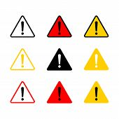 Caution Icon With Triangle Form. Danger Sign, Attention Sign. Caution Warning Icon.triangle Warning  poster