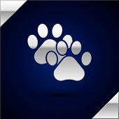 Silver Paw Print Icon Isolated On Dark Blue Background. Dog Or Cat Paw Print. Animal Track. Vector I poster