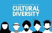 Cultural Diversity Day Greeting Card Illustration. Diverse Social Group Of People Includes African,  poster