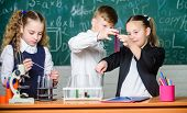 Chemistry Science. Little Kids Scientist Earning Chemistry In School Lab. Biology Experiments. Littl poster