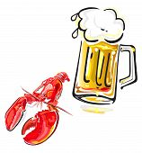 stock photo of crawfish  - Vector illustration of crawfish and mug of beer isolated on white background - JPG