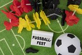 Fussballfest In German Language Means Soccer Festival. Soccer Ball With Flower Necklace In The Color poster