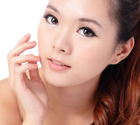 stock photo of japanese woman  - Asian beauty skin care woman smiling close - JPG