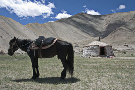stock photo of karakoram  - Life along the Region between the Khunjerab Pass and the Karakoram Mountain Highway on the Border of Pakistan and Xinjiang - JPG