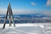 foto of sakhalin  - Triangulation station on hill town view Yuzhno - JPG