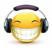 stock photo of emoticon  - Vector illustration of cool glossy single musical emoticon with detailed headphones - JPG