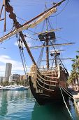 stock photo of galleon  - Old wooden Spanish Galleon in Alicante Harbor - JPG