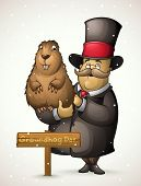 Groundhog and man on Groundhog Day