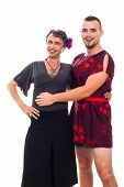 stock photo of transvestite  - Portrait of two happy transvestites cross - JPG