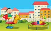 picture of bounce house  - Illustration of kids playing in a beautiful nature - JPG