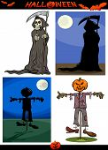 Halloween Cartoon Creepy Themes Set