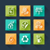 Set of eco icons in flat design style.
