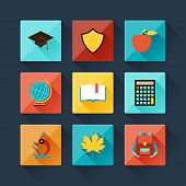 Set of education icons in flat design style.