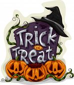 Halloween Illustration of a Tombstone with Trick or Treat Written on It
