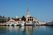 stock photo of sochi  - Marine Station of Sochi on the background of sea and sky - JPG
