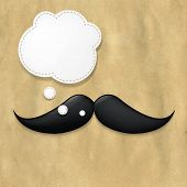 Moustaches On Old Paper And Speech Bubble, With Gradient Mesh, Vector Illustration
