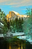 Yosemite in winter with half dome in background