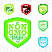picture of modifier  - Non GMO or GMO free labels to indicate non genetically modified foods or on organic product packaging - JPG