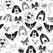 foto of poodle  - Seamless poodle dogs and puppy illustration hand drawn background pattern in vector - JPG