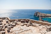 foto of oracle  - Ancient temple of Apollo at Lindos - JPG