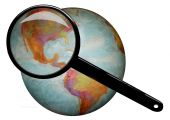 stock photo of eastern hemisphere  - World globe of the western hemisphere with the United States under a magnifying glass - JPG