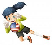 Illustration of a female soccer player with the United States flag on a white background