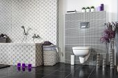 picture of lilas  - Modern bathroom black and white with violet additions - JPG