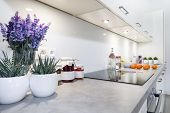 image of oven  - Modern kitchen interior design in white color  - JPG