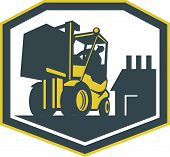 pic of forklift driver  - Illustration of a forklift truck and driver at work lifting handling box crate with logistics warehouse factory in background done in retro style inside shield crest shape - JPG