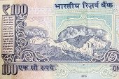 foto of indian currency  - himalayan mountains depicted on a indian currency note - JPG