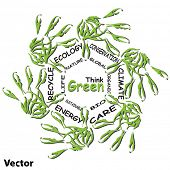 Vector concept or conceptual child green ecology word cloud hand print symbol of leafs,isolated on w