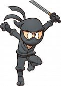 stock photo of ninja  - Cartoon ninja running - JPG