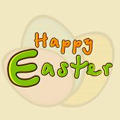 Stylish colorful text Happy Easter on Easter eggs decorated brown background, can be use as flyer, p