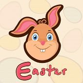 Funny face of a bunny on seamless Easter eggs pattern background with stylish pink text.