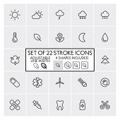 Stroke design icons set 4 / Weather + ecology + medicine + etc. / Adjustable line width + 4 button s
