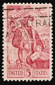 picture of alighieri  - A 1965 issued 5 cent United States postage stamp Dante Alighieri 700th Anniversary - JPG