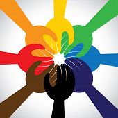 picture of friendship  - group of hands taking pledge promise or vow  - JPG