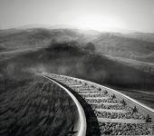 foto of unique landscape  - Beautiful landscape of countryside with an isolated binary in black and white - JPG