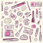 stock photo of cosmetic products  - Makeup products set - JPG