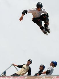 foto of inline skating  - inline skate - JPG