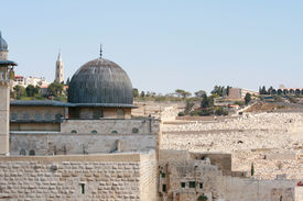 pic of mosk  - View on Mosk and Western Wall  in jerusalem Israel - JPG